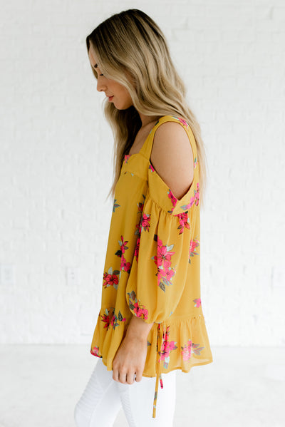 Mustard Yellow Ruffled Hem Floral Boutique Tops for Women