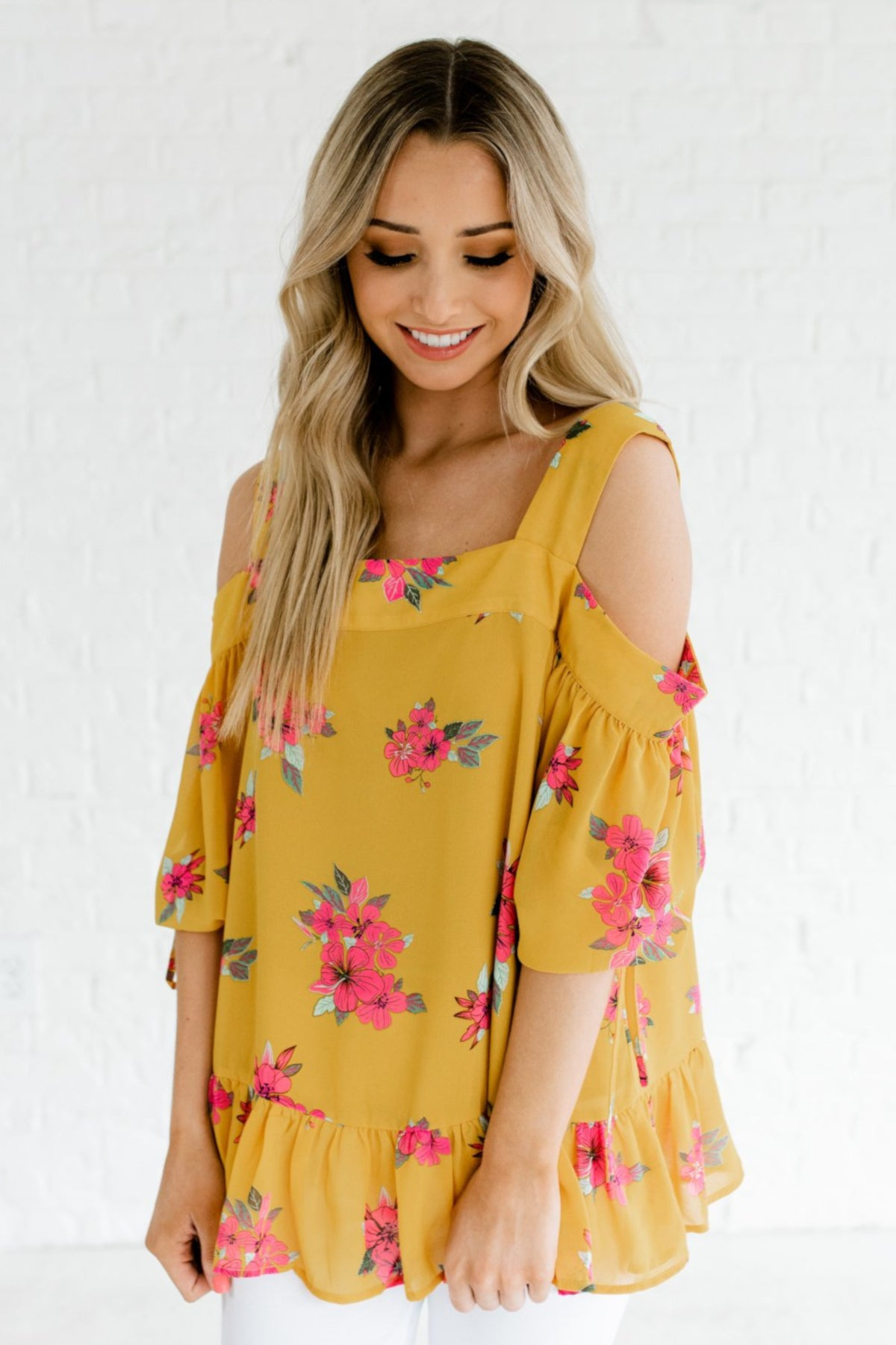 Mustard Yellow Floral Women's Puff Tie Cute Sleeve Boutique Top