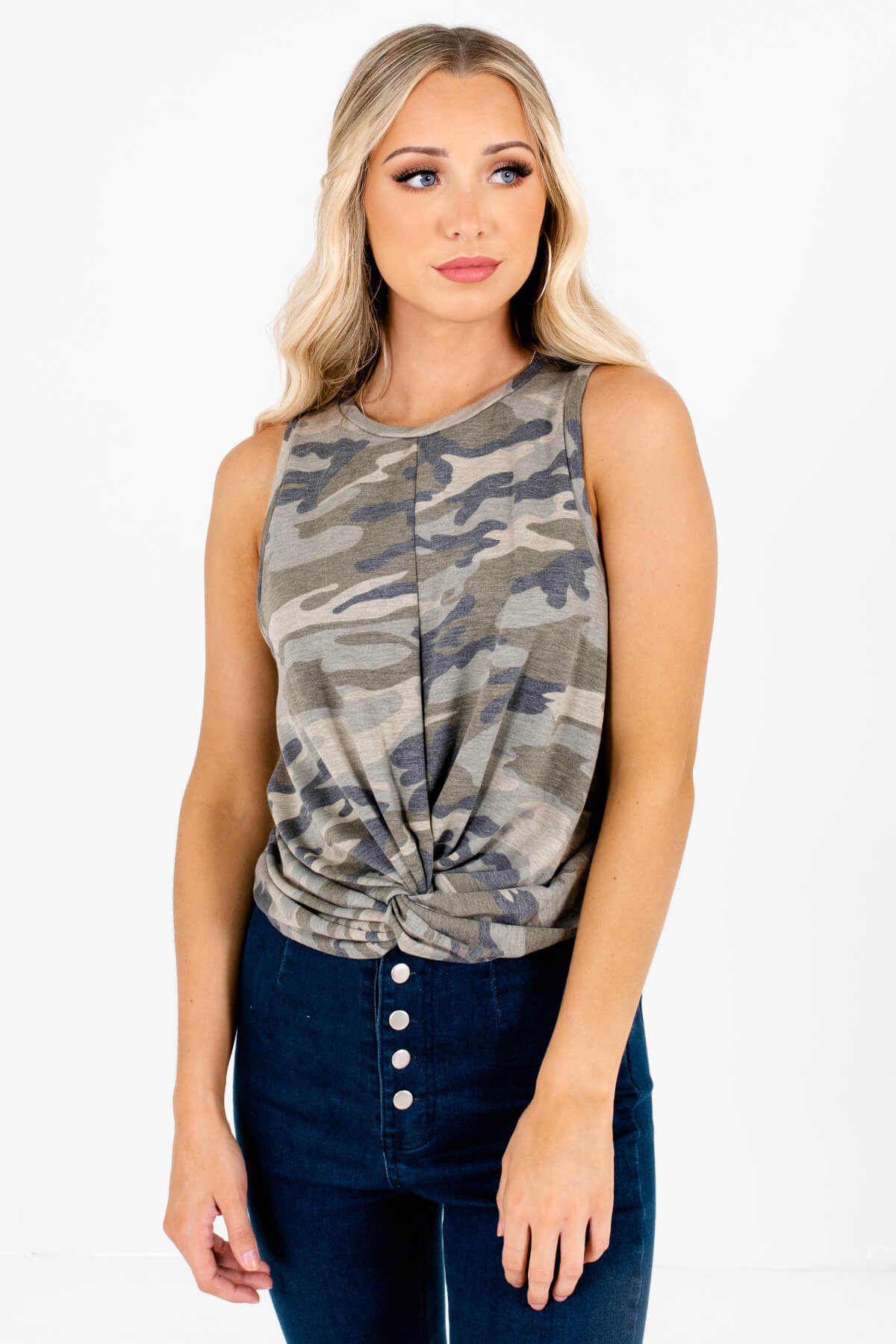 Green Camo Boutique Tank Tops for Women