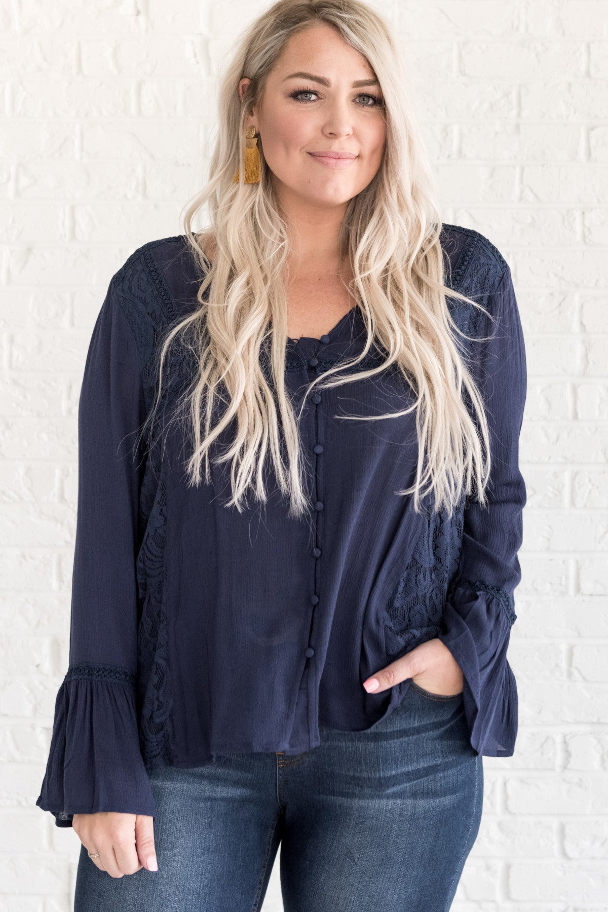 High Class Navy Blue Blouse Plus Size Blouses For Women
