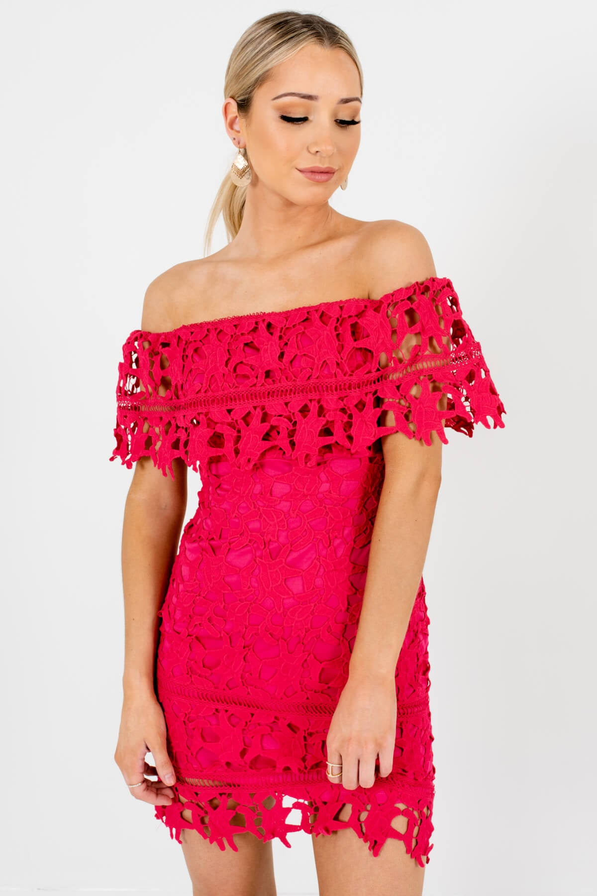 Hot Pink Crochet Lace Overlay Boutique Mini Dresses for Women