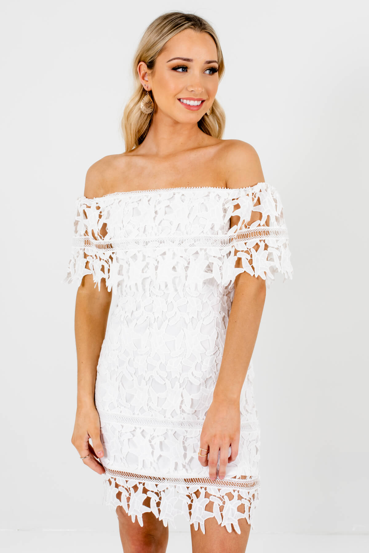 White Crochet Lace Overlay Boutique Mini Dresses for Women