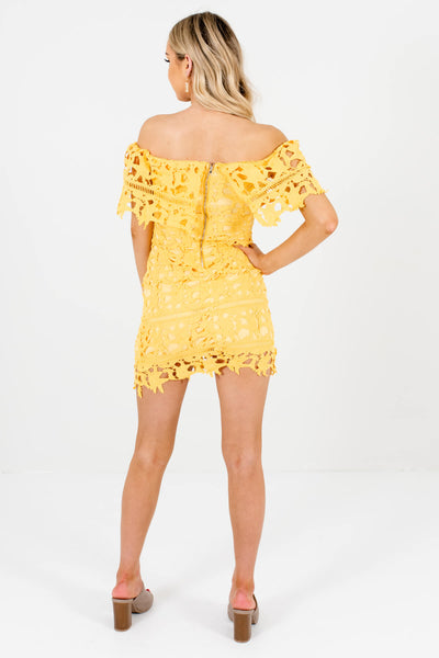 Women's Yellow Off Shoulder Style Boutique Mini Dress