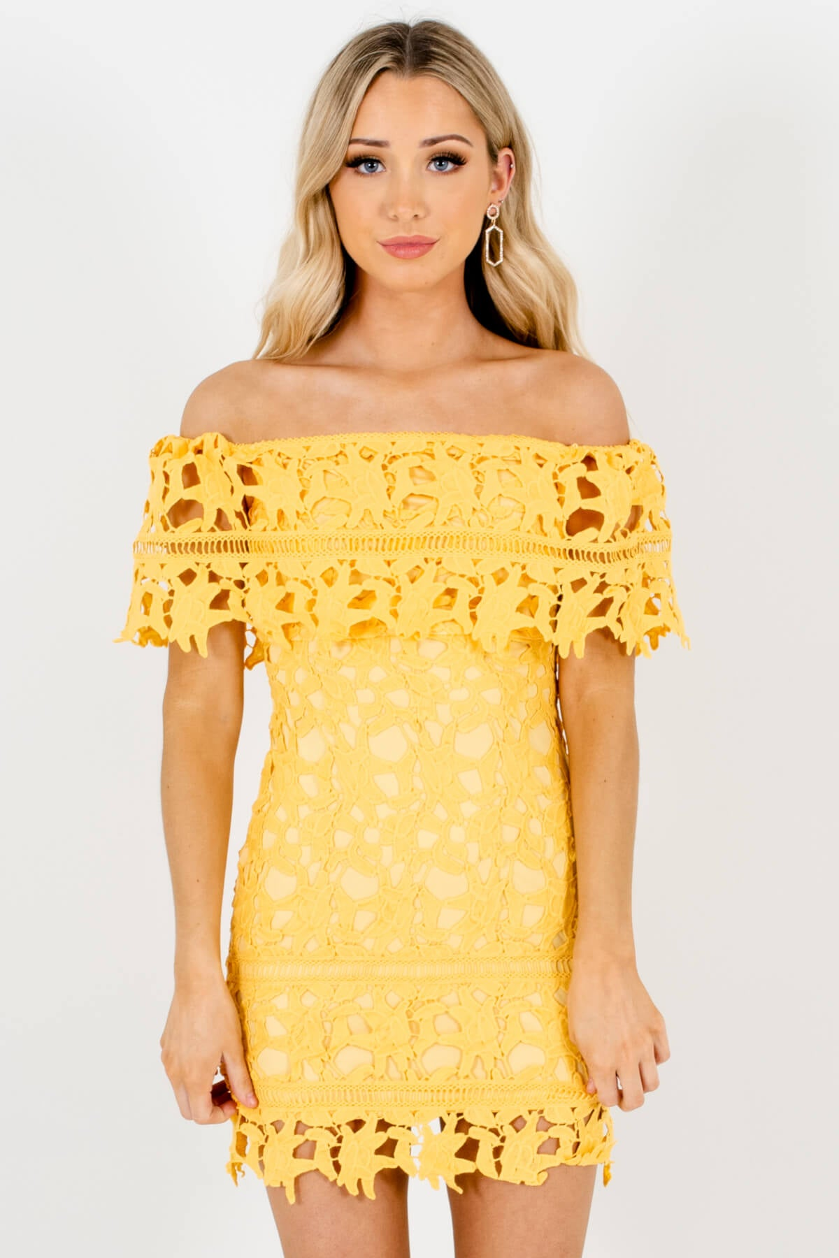 Yellow Crochet Lace Overlay Boutique Mini Dresses for Women