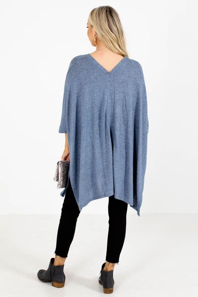 Women's Blue Poncho Style Boutique Top