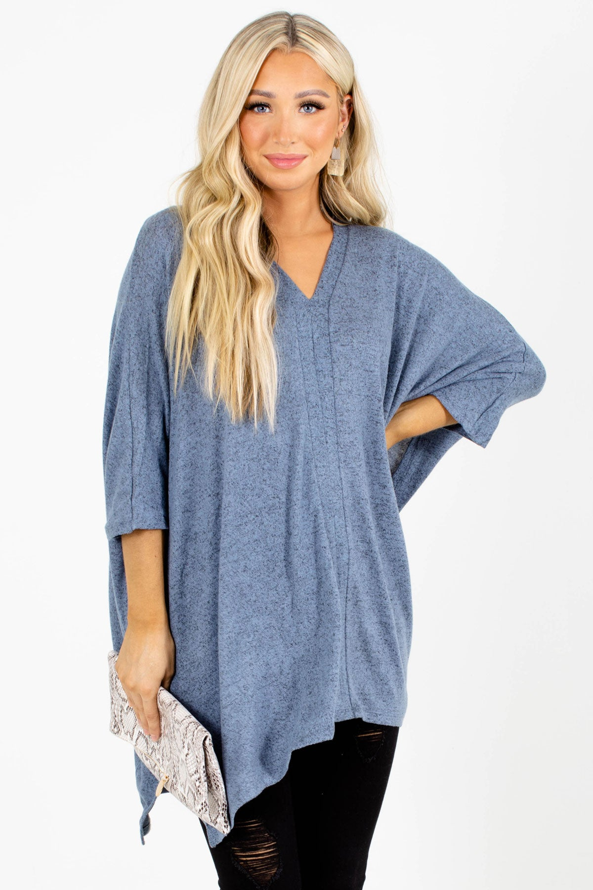 Blue V-Neckline Boutique Tops for Women
