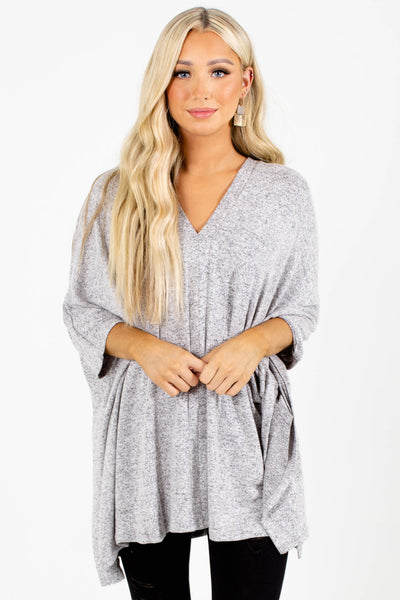 Gray Cute and Comfortable Boutique Poncho Tops for Women