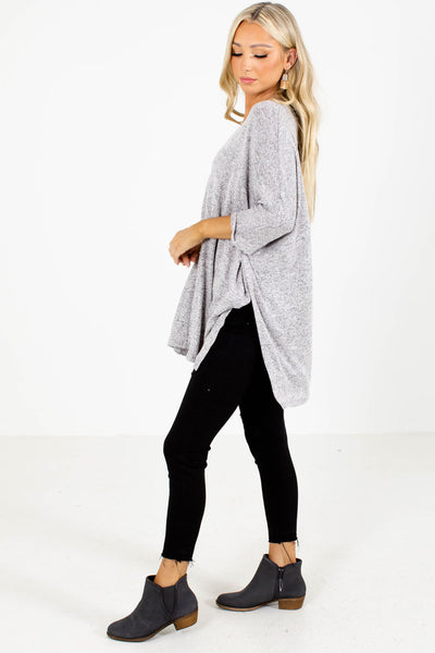 Gray Poncho Style Boutique Tops for Women