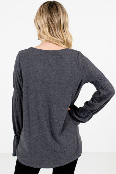 Women's Charcoal Gray Bell Sleeve Style Boutique Tops