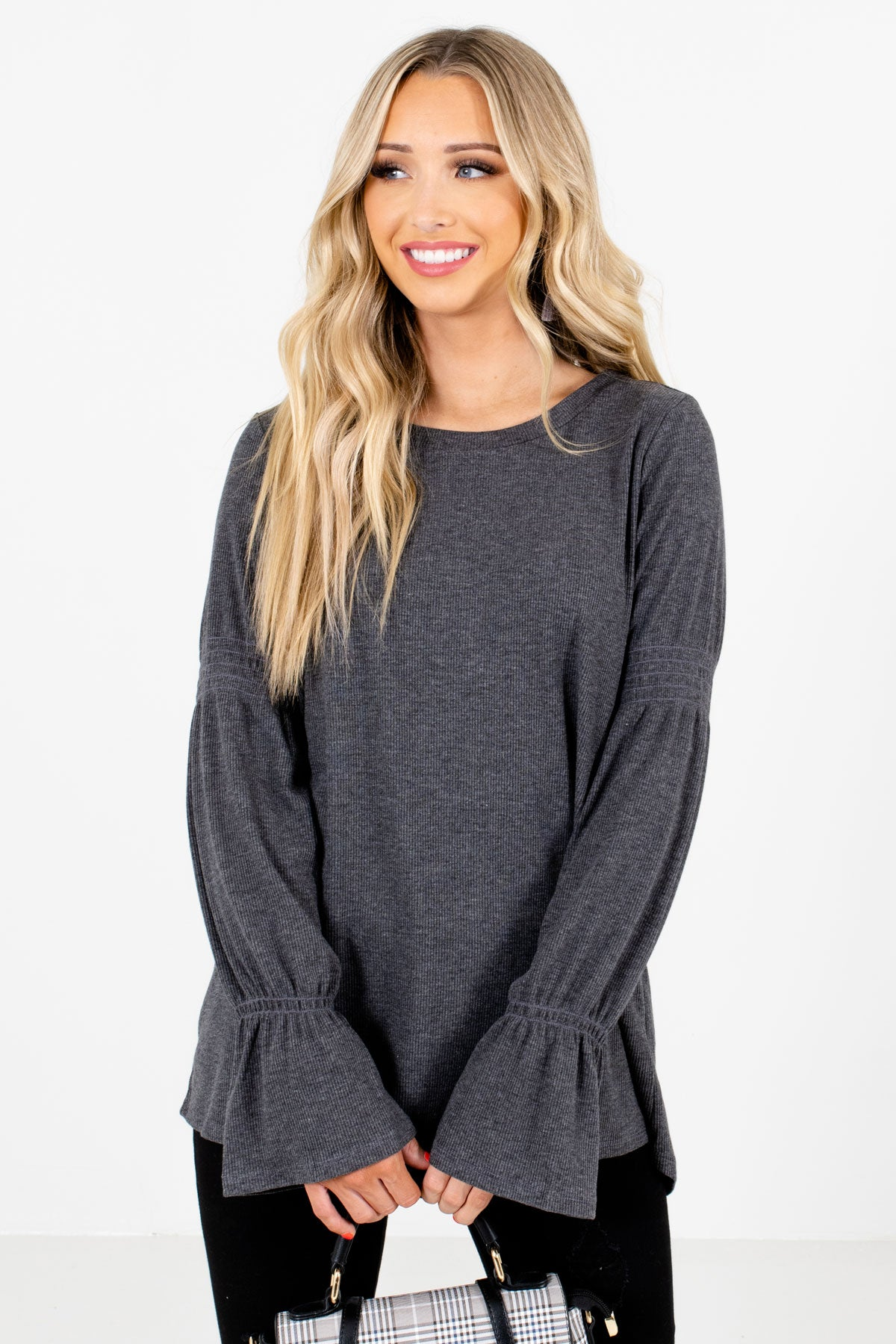 Charcoal Gray High-Quality Ribbed Material Boutique Tops