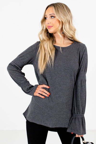 Women's Charcoal Gray Smocked Accented Boutique Tops