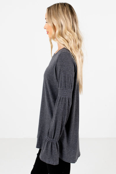 Charcoal Gray Round Neckline Boutique Tops for Women