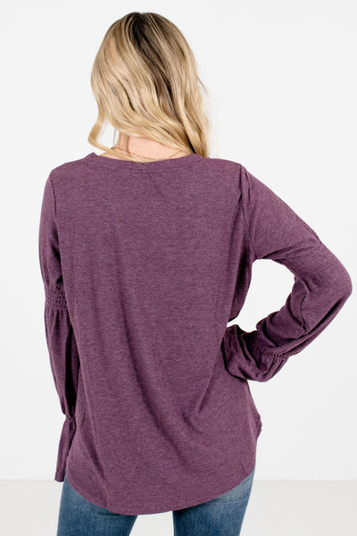 Women's Purple Bell Sleeve Style Boutique Tops