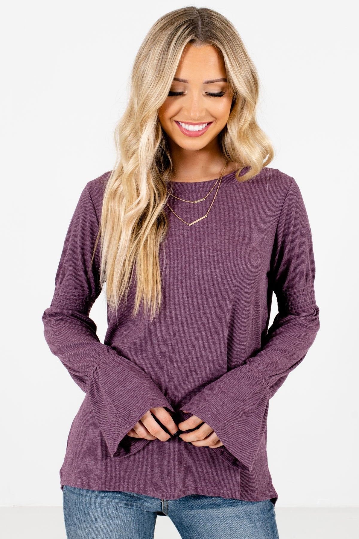 Purple High-Quality Ribbed Material Boutique Tops