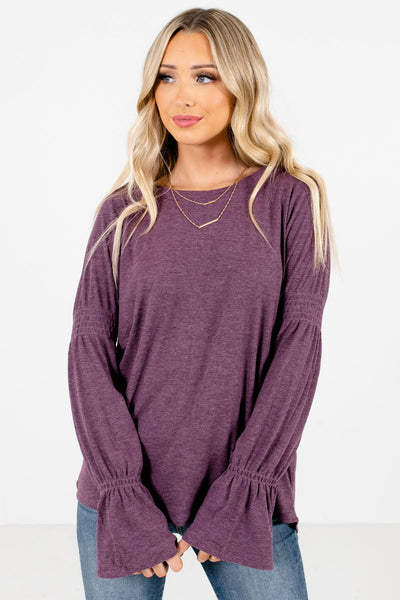 Women's Purple Casual Everyday Boutique Tops