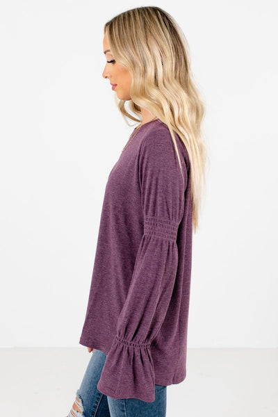 Purple Round Neckline Boutique Tops for Women