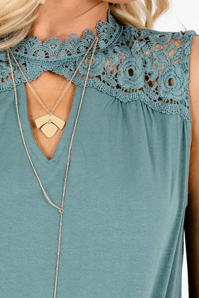 Teal Green Lace High Neckline Tank Tops for Women