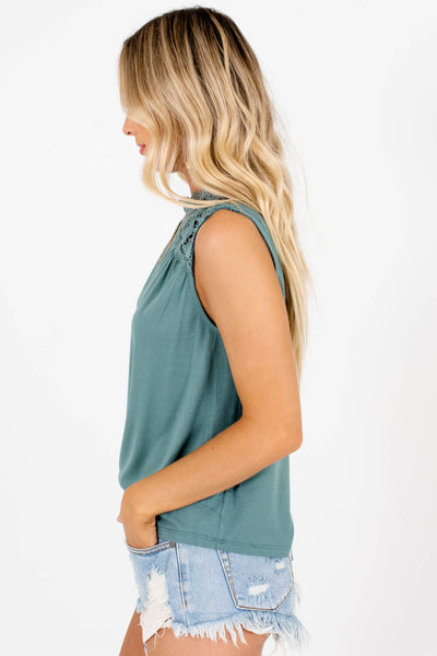 Teal Turquoise Green Lace Tank Tops Affordable Online Boutique