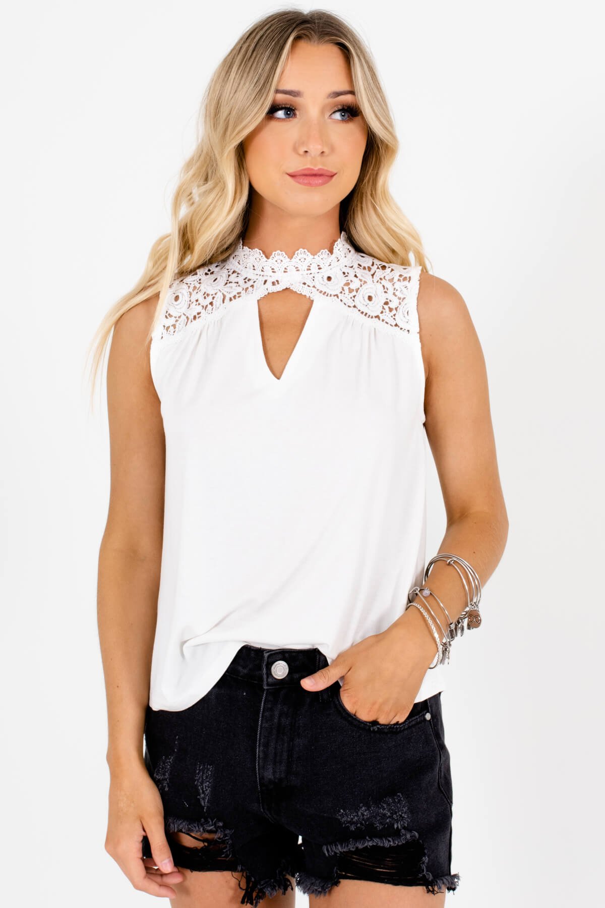 White Lace High Neck Cutout Tank Tops Affordable Online Boutique