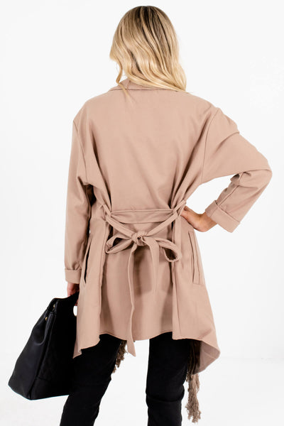 Women's Taupe Brown Waist Tie Detail Boutique Coat