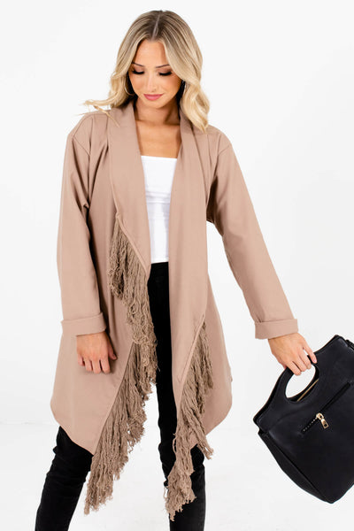 Taupe Brown Cute and Comfortable Boutique Coats for Women
