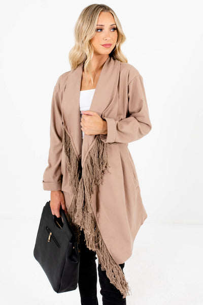 Women's Taupe Brown Boutique Coat with Pockets