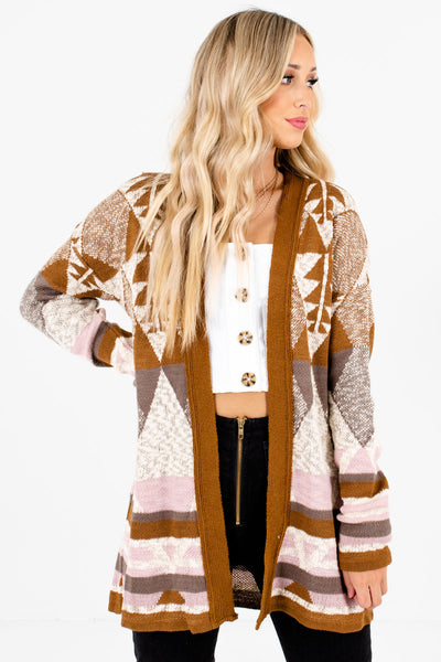 Brown Multicolored Patterned Boutique Cardigans for Women