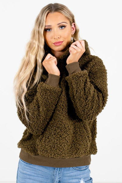 Women's Olive Green Warm and Cozy Boutique Hoodies
