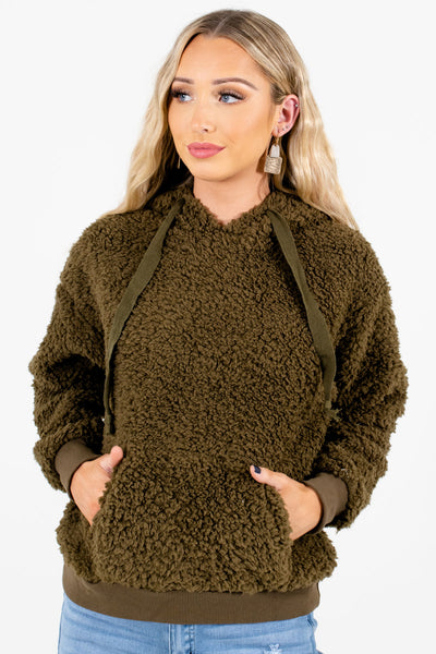 Women's Olive Green Cute and Comfortable Boutique Hoodie