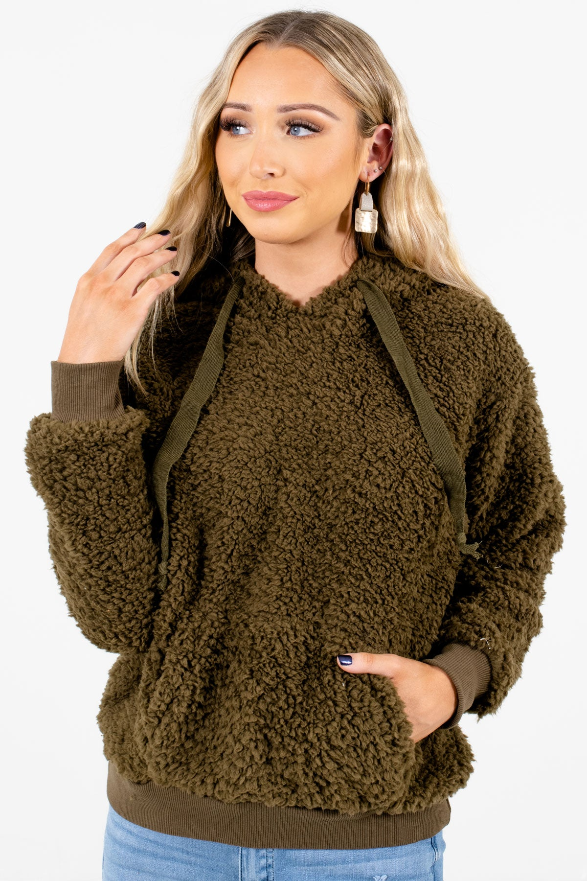 Olive Green High-Quality Faux Sherpa Material Boutique Hoodies for Women