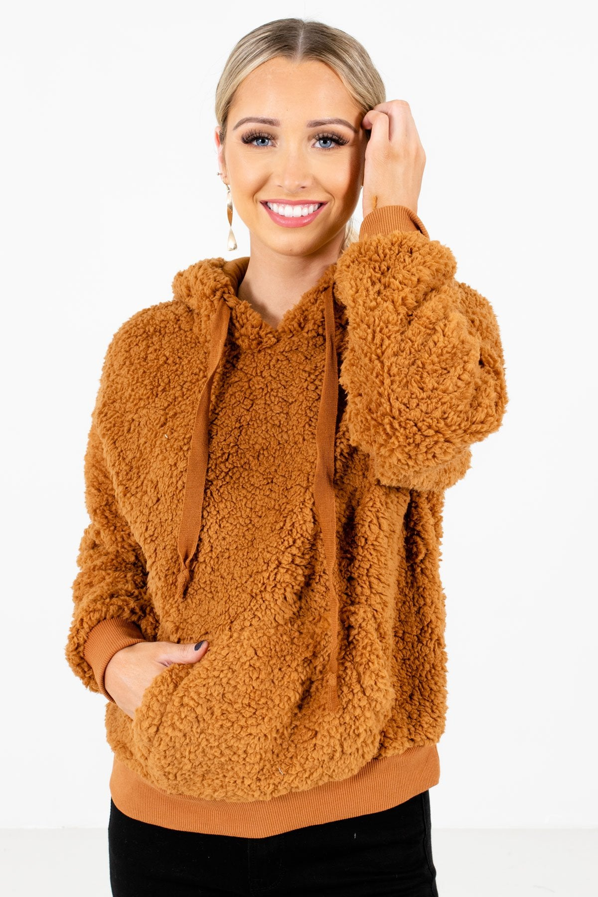 Tawny Orange High-Quality Faux Sherpa Material Boutique Hoodies for Women