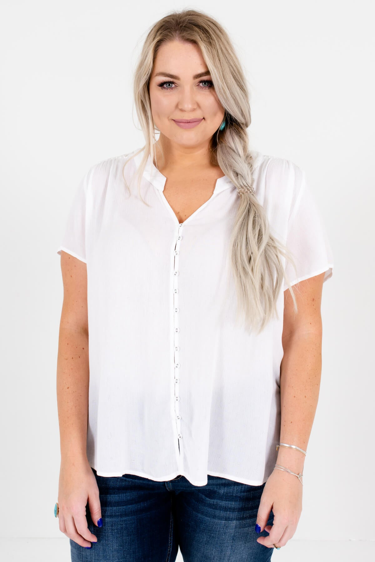White Embroidered Lace Insert Plus Size Boutique Tops for Women