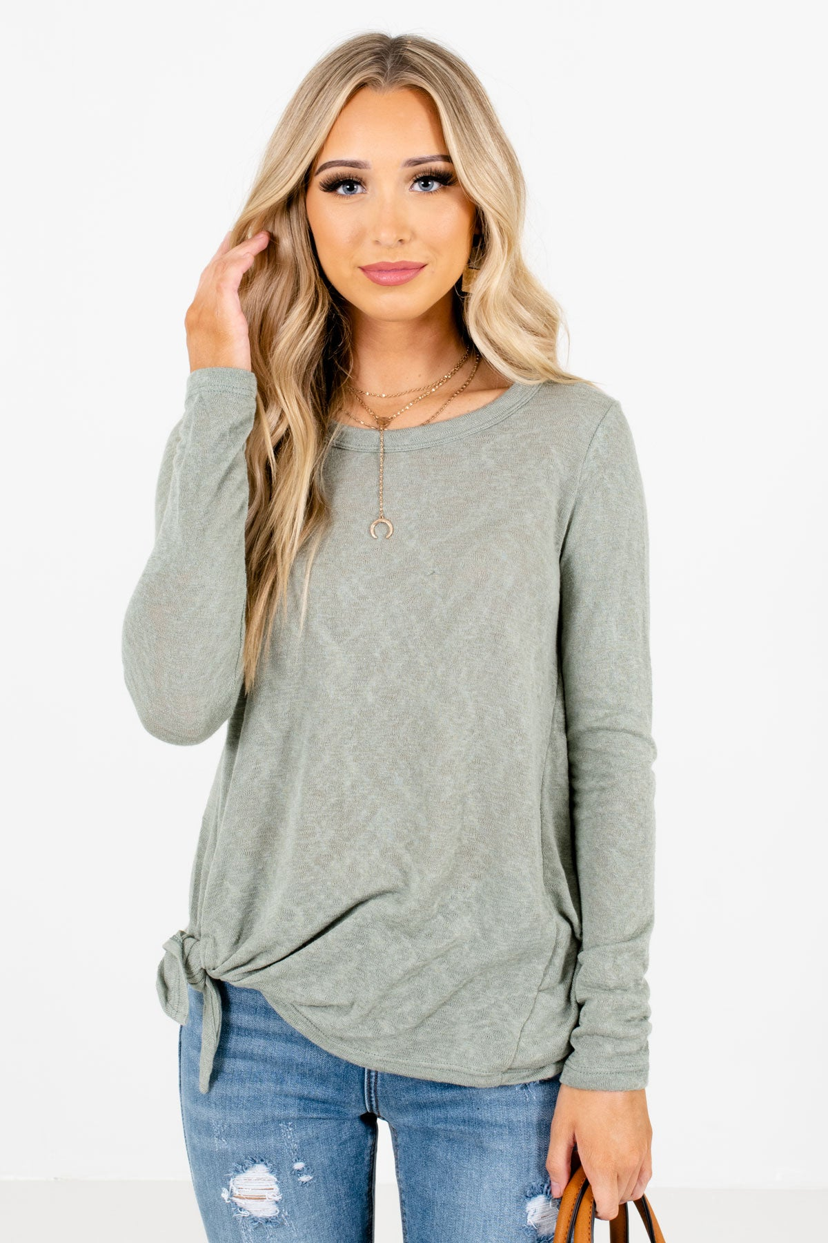 Sage Green Self-Tie Knot Detailed Boutique Tops for Women