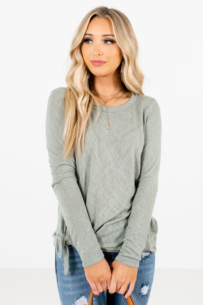 Sage Green Cute and Comfortable Boutique Tops for Women