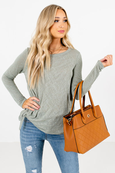 Women's Sage Green Relaxed Fit Boutique Tops
