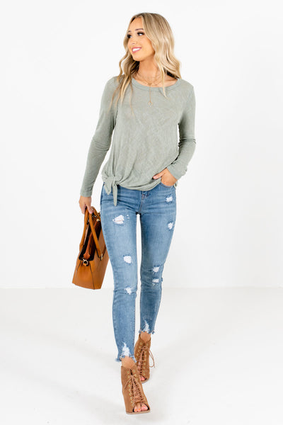 Women's Sage Green Fall and Winter Boutique Clothing