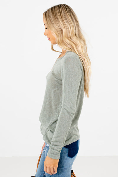 Sage Green Long Sleeve Boutique Tops for Women