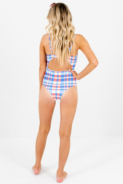 Coral Blue Coral Plaid Pattern Cutout Detail Swimsuits and Swimwear