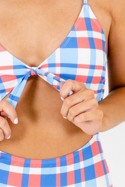 Coral Blue Plaid Cutout One-Piece Swimsuits Boutique Swimwear