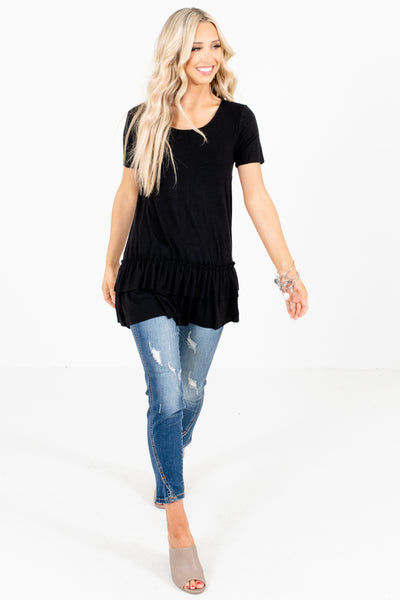 Women's Black Short Sleeve Boutique Tops