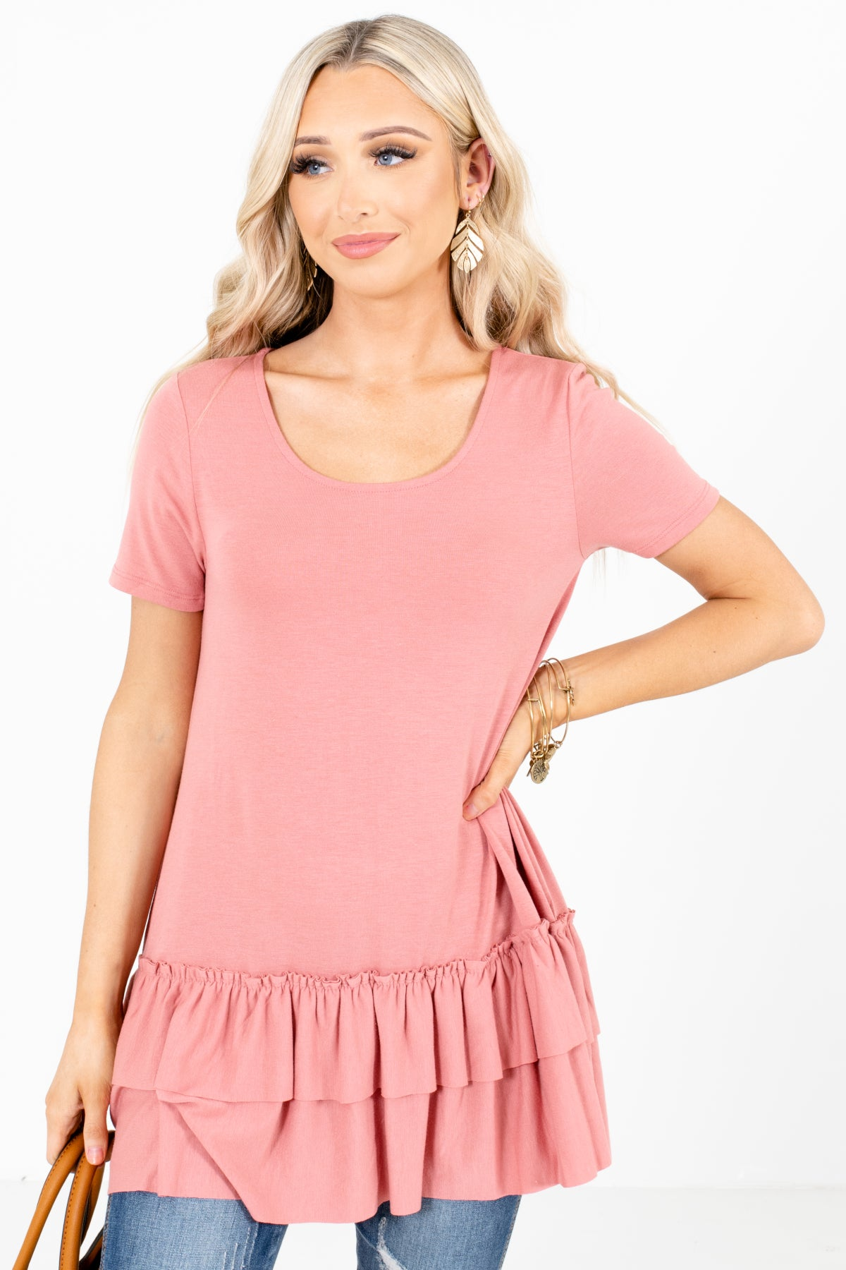Pink Peplum Style Hem Boutique Tops for Women