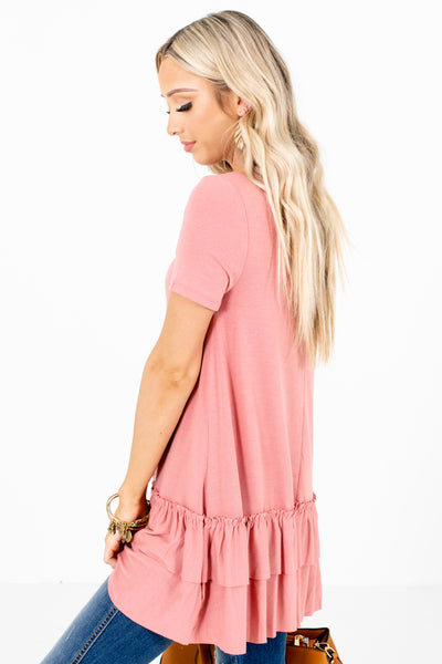 Women's Pink Ruffle Accented Boutique Top