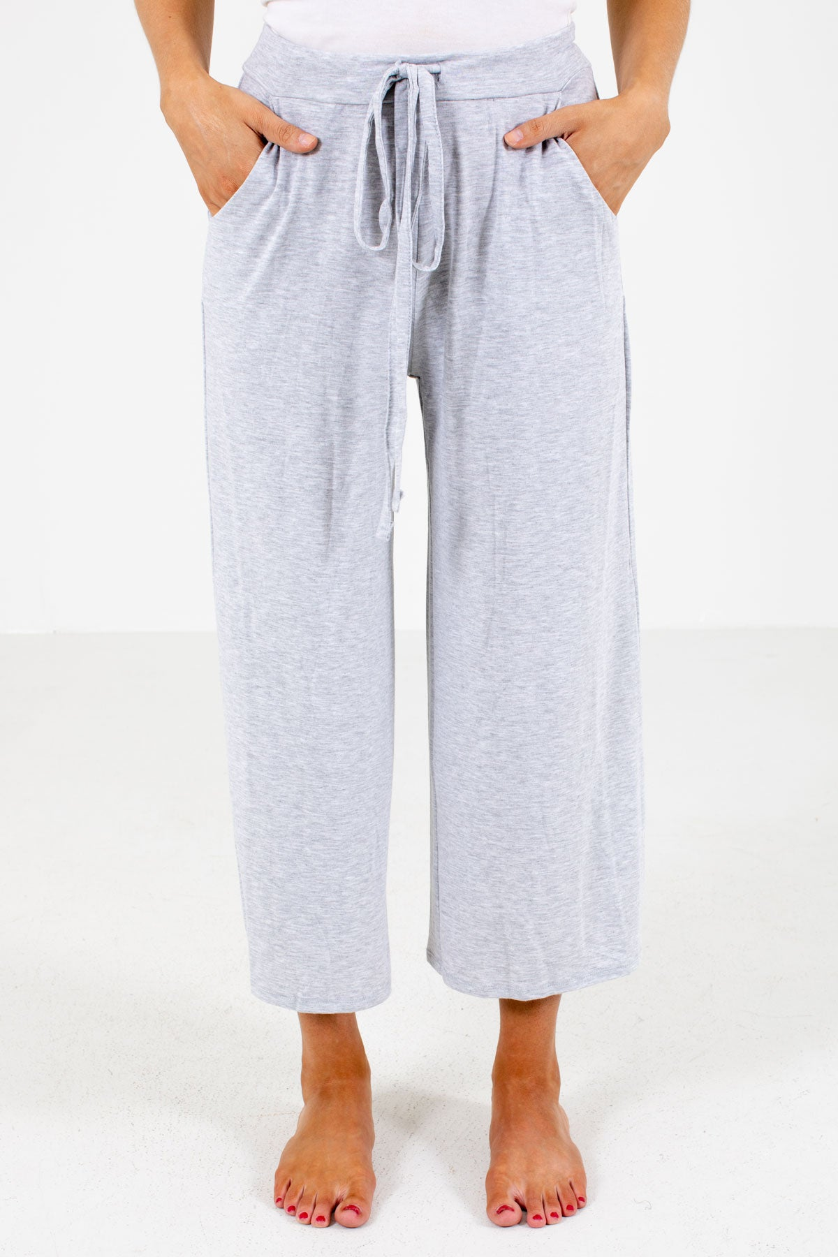 Gray Drawstring Waistband Boutique Pants for Women