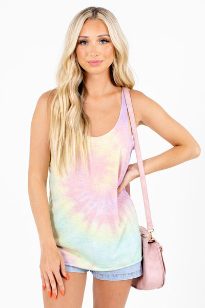 Tie-Dye Patterned Boutique Tank Tops for Women
