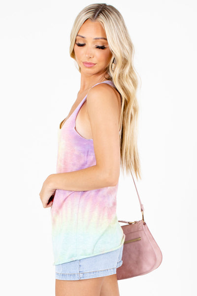 Tie-Dye Scoop Neckline Boutique Tank Tops