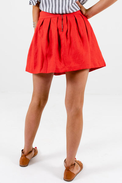 Women's Red Back Zipper Boutique Mini Skirt
