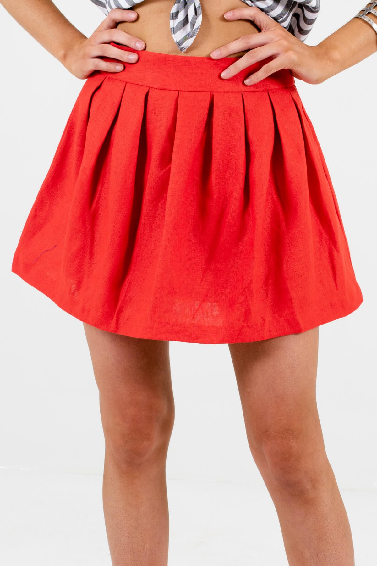 Red Pleated Detailed Boutique Mini Skirts for Women