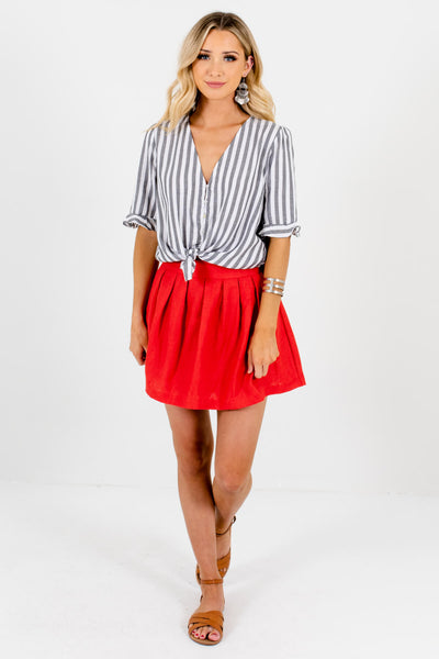 Red Cute and Comfortable Boutique Mini Skirts for Women