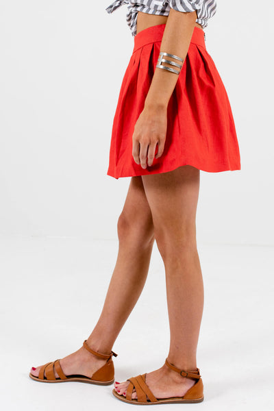 Red Fully Lined Boutique Mini Skirts for Women