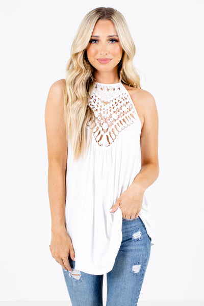 Women's White Stretchy Boutique Tank Top